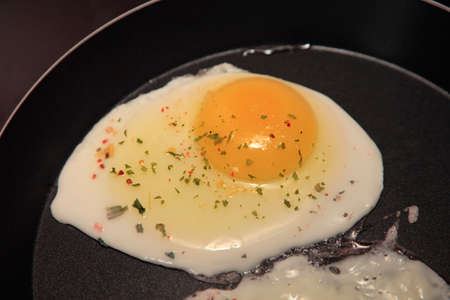 substitute: Raw Egg on the Frying Pan, Close Up
