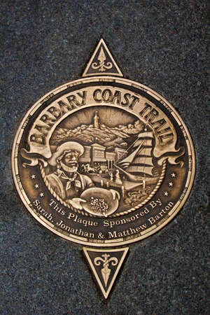 gold rush: Sign of Barbary Coast Trail in downtown San Francisco, California, USA  Barbary Coast Trail connects the historic site between the 1849 Gold Rush time to the 1906 Earthquake