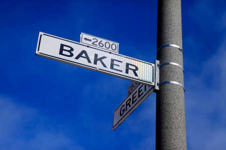 names: Roadsign Green Street and Baker Street in San Francisco, California.