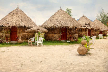 Beach bungalow at sunset in Cambodia