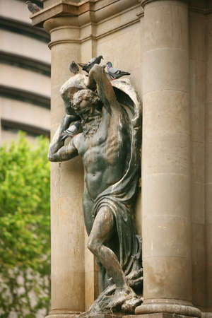 heliopolis: Statue adorns the building in Barcelona
