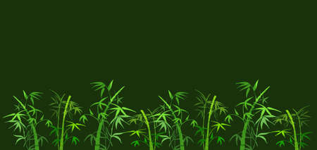 woody: On green background the branches of bamboo Stock Photo