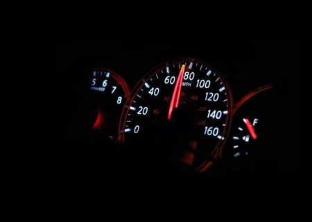 car speed: Speedometer passenger car, showing a higher speed.