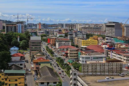 Kota Kinabalu cityview. Kota Kinabalu city is the capital of the state of Sabah, located in Borneo Island, East Malaysia. Standard-Bild