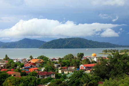 sabah: Kota Kinabalu cityview. Kota Kinabalu city is the capital of the state of Sabah, located in Borneo Island, East Malaysia. Stock Photo