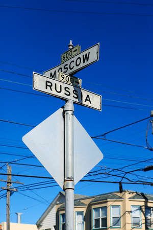 ave: At the intersection of Russia Ave and Moscow Street in San Francisco, California.