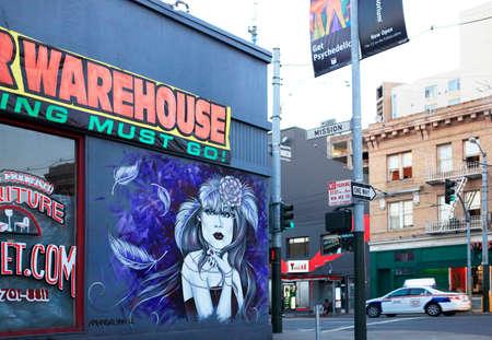 SAN FRANCISCO CA SEPTEMBER 28 2013: Wall of graffiti in San Francisco on 28 September 2013 California