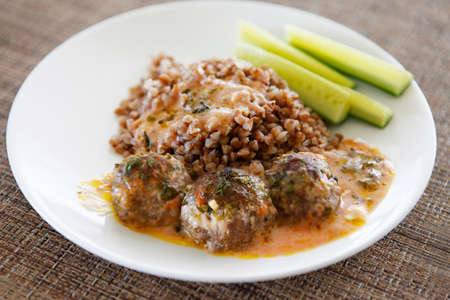 souse: Buckwheat with small meat balls, red souse and fresh cucumbers
