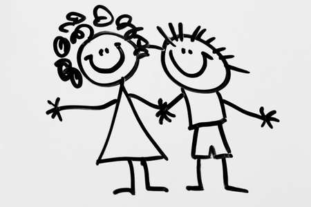 Children's drawing. Image friends on a white background Stock Photo