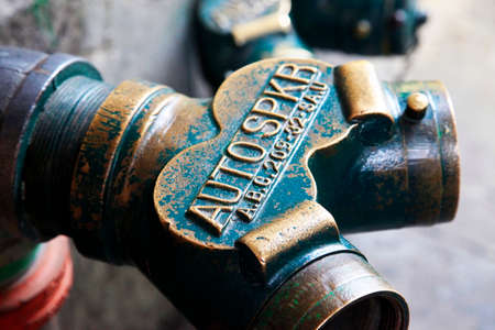 low angles: Green Fire Hydrant Closeup Stock Photo