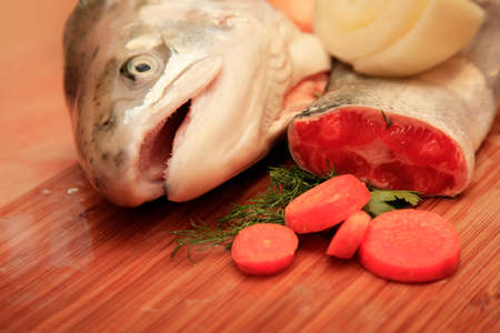 red salmon: Fresh red salmon fish on wooden cooking desk