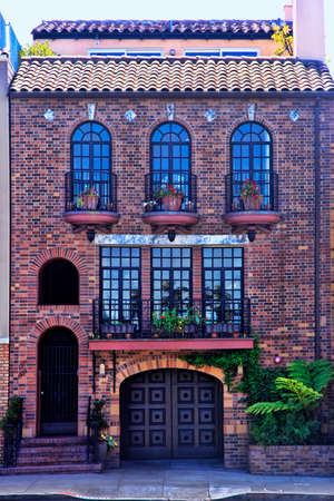 house windows: The beautiful facade of a residential building. San Francisco