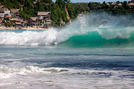 dreamland: Most popular surfing areas Dreamland beach on Bali, Indonesia