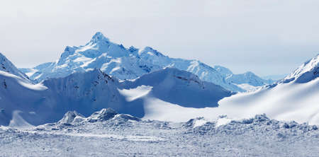 elbrus: Russia. Caucasus. View on Elbrus Mount - the highest point of Europe from Cheget Mount. Panorama the review from 4 shots