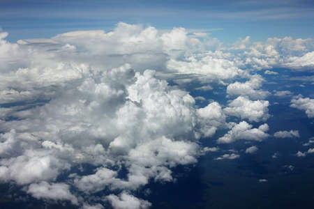 soft hail: Clouds. A view from a window of the plane