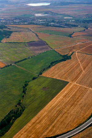 afield: Aerial view of colorful fields. Russia
