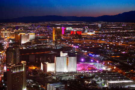 Las Vegas, Nevada, USA - September 20, 2011: Aerial panoramic view of Las Vegas at dusk, looking south toward the strip from downtown. Editorial