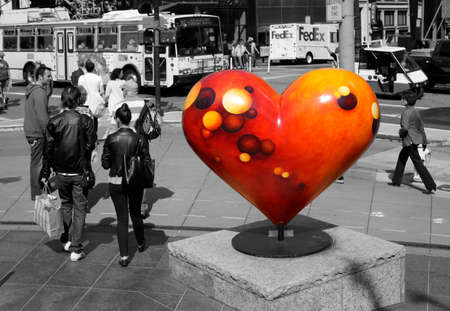 intended: San Francisco, CA, USA - September 14, 2011: This landmark in Union Square is part of the Hearts in San Francisco project which is intended to help The San Francisco General Hospital
