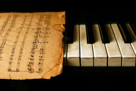 chorale: The keyboard of the piano and old notes Stock Photo