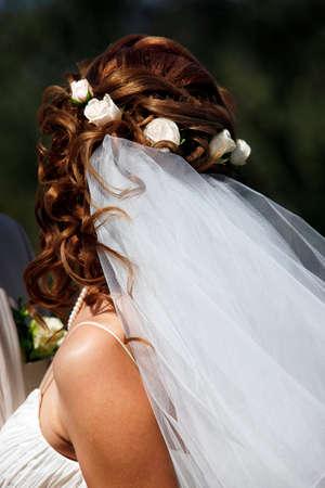 debutante: The beautiful bride on a dark background