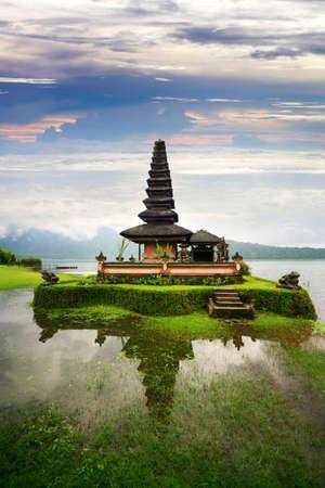 ulun: Pura Ulun Danu Temple, Lake Bratan, Bali, Indonesia on sunset Stock Photo