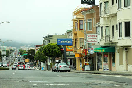 characteristic: San Francisco, CA, USA - September 13, 2011: view of the street in the future with fog in the background, characteristic of San Francisco