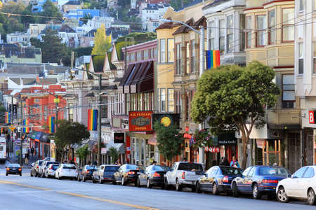 frisco: San Francisco, CA, USA - October 23, 2012: Castro district in San Francisco, USA. Castro is one of the United States first and best-known gay neighborhoods, and it is currently its largest.
