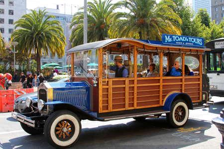 tourist feature: San Francisco, California, USA - September 14, 2011: stylized touristic car on Union Square in San Francisco