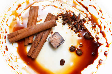 sneak: Chocolate candy isolated with anice and cinnamon Stock Photo