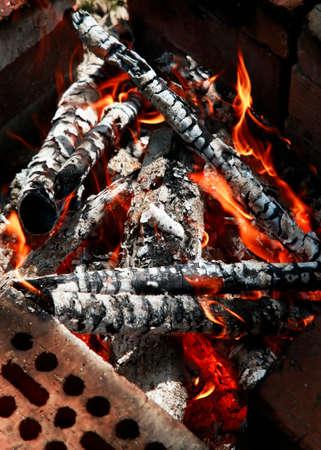 fire bricks: Fire with big fire on bricks