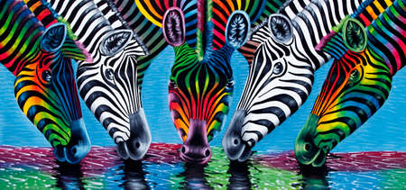 es: Stone Town, Zanzibar, Tanzania - January 10, 2016: painting of zebras at a watering place for tourists in Stone Town, Zanzibar, Tanzania, East Africa. Stock Photo
