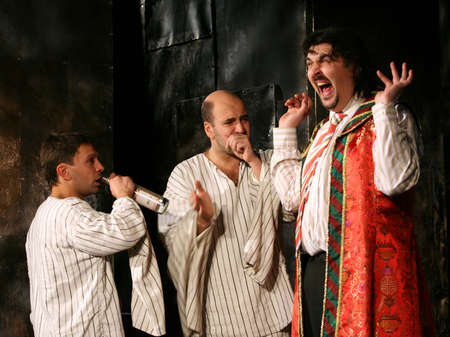 hait: Russia, Moscow - April 11, 2007: Russian actors Igor Zolotovitsky, Leonid Barats and Rostislav Hait in performance Is faster than rabbits in Moscow, Russia