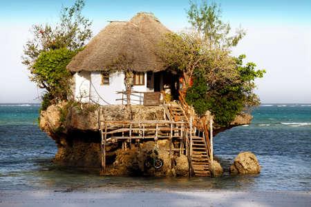 Small restaurant The Rock in Zanzibar, Tanzania