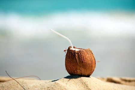 frash: Frash coconut on sea background