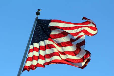 pacto: EE.UU. bandera en el polo ondeando en el viento Foto de archivo