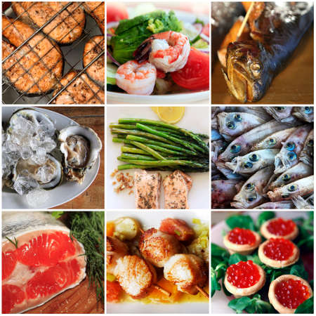 fish vendor: Sea food collage made from nine photographs Stock Photo