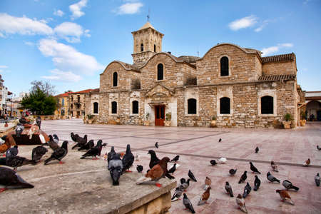 9th: Birds flying outside of the Ancient 9th century Greek Orthodox Church of Ayios Lazarus in Larnaca, southern Cyprus. Known as Church of Saint Lazarus.