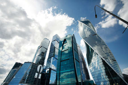business center: Moscow, Russia - June 10, 2016: Moscow City. View of skyscrapers Moscow International Business Center.