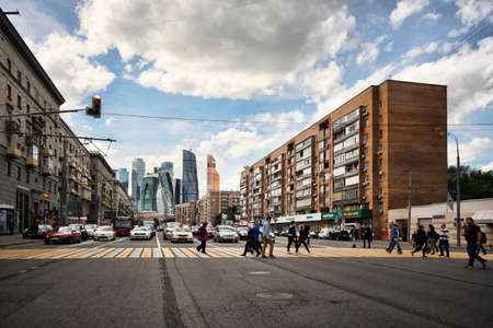 international business: Moscow, Russia - June 10, 2016: busy street in Moscow, on the background Moscow International Business Center Editorial