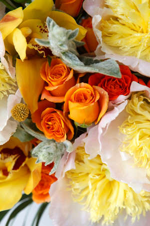 pion: Wedding bouquet of roses, orchids and peonies