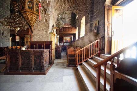 lazarus: The interior of the St Lazarus church with the golden iconostasis in LArnaca, Cyprus