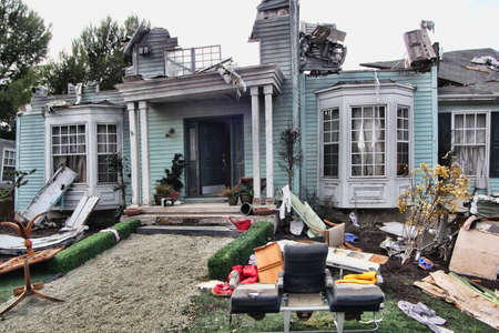 House damaged by disaster. Scenery for cinema