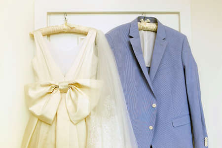 dress suit: Wedding accessories - dress for the bride and grooms suit Stock Photo