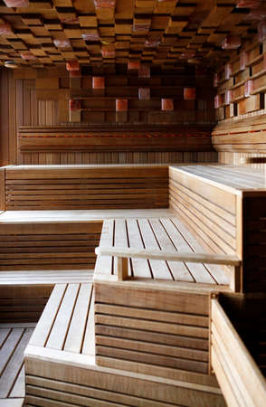finnish bath: Interior of a wooden Finnish sauna