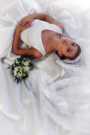 getting married: The beautiful bride with bouquet