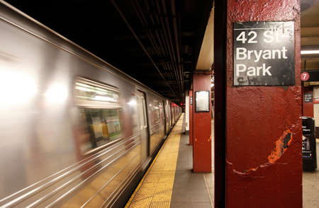 midtown manhattan: View of 42 St-Bryant park subway station in midtown Manhattan . New York City Subway is the busiest rapid transit rail system in the United States Stock Photo