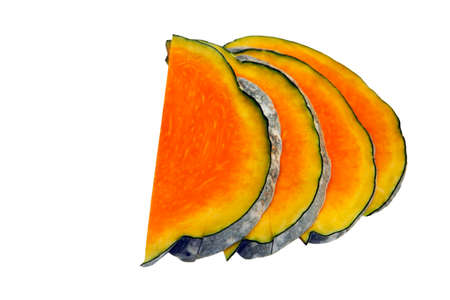 Four slices of honeydew pumpkin on a white background Stock Photo