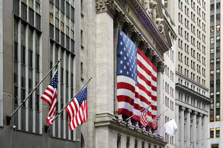 bank of america: Wall Street with New York Stock Exchange in Manhattan Finance district during United States economy recovery in Manhattan. New York City. Stock Photo