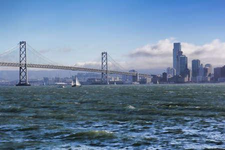 sailfish: Bay Bridge and sailfish in San Francisco Foto de archivo