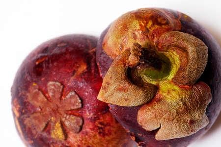 Mangostan - Exotic Fruit close up on white background